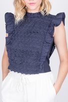 Moon River Navy Ruffle Top