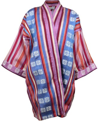 Maraina London Matilde Silk Kimono-Style Jacket In Purple Blue
