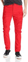 Southpole Men's Long Twill Pant with Multiple Horizontal Rips In Carrot Fit