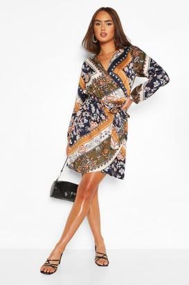 boohoo Scarf Print Wrap Mini Dress