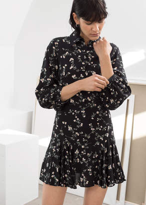 And other stories Floral Button Up Mini Dress