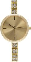 Geneva Platinum Gold Crystal-Link Bracelet Watch
