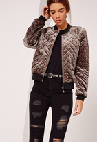 Missguided Quilted Bomber Jacket Brown