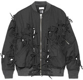Facetasm Bow-embellished Pinstriped Wool-twill Bomber Jacket - Charcoal