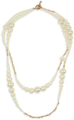 Miriam Haskell Faux Pearl Two-Row Layered Necklace