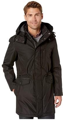 Cole Haan Bonded Hooded Jacket (Black) Men's Coat