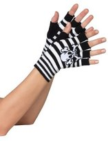 Leg Avenue Acrylic Skull And Crossbone Fingerless Gloves (;)