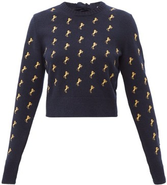 Chloé Horse-embroidered Wool-blend Sweater - Womens - Navy Multi