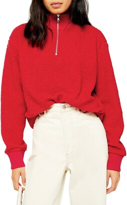 Topshop Half Zip Funnel Neck Sweatshirt
