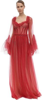 Sandra Mansour Glittered Tulle Midi Dress
