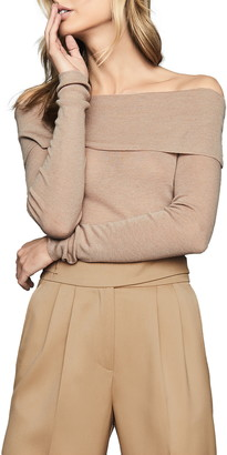 Reiss Tima Off the Shoulder Wool & Cashmere Sweater
