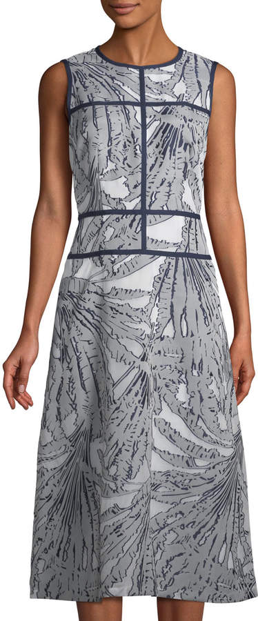 Lafayette 148 New York Damaris Tropical-Print Fil Coupé Dress