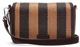 Fendi Striped Raffia And Leather Cross-body Bag - Black Brown