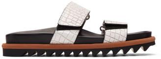 Dries Van Noten White Croc Slides