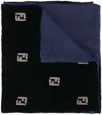 Fendi Pre Owned Logo Embroidered Muffler Stole