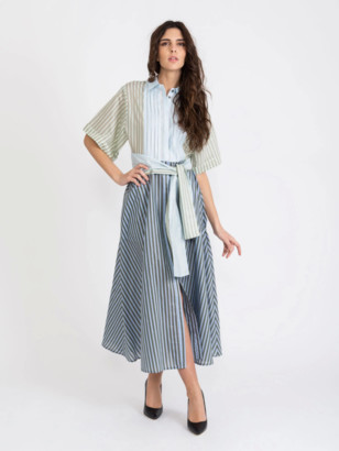 Tela - Polyhedral Long Shirt Dress with Iridescent Stripes - 38