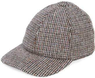 Maison Michel tiger tweed cap brown