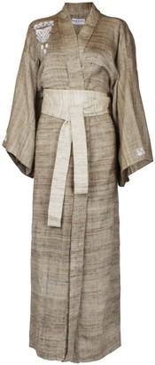 A.N.A Brown Raw Silk Wrap Kimono-Style Robe