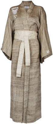Maraina London Ana Brown Raw Silk Wrap Kimono-Style Robe