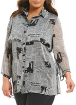 IC Collection Plus Button Front Newspaper Blouse