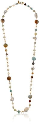 Kenneth Jay Lane Gold Amazonite Pearl Necklace 36.5""