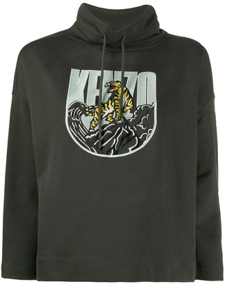 Kenzo Logo Embroidered Boxy Hoodie