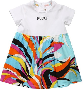 Emilio Pucci Logo Print Cotton Jersey Dress