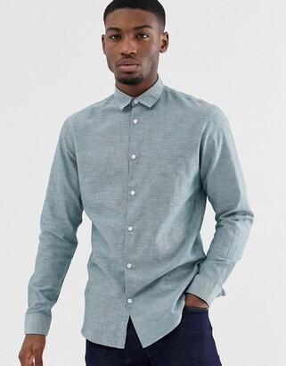 Selected slim fit linen mix shirt in light green-Blue