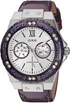 GUESS GUESS? Women's U0775L6 Sporty Silver-Tone Stainless Steel Watch with Multi-function Dial and Purple Strap Buckle