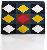 Saint Laurent Blue Canvas Leather Trim Colorblocked Structured Small Clutch