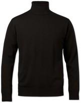 Charles Tyrwhitt Black merino wool roll neck sweater