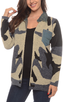 Taupe & Gray Camo Denim Pocket Open Cardigan - Plus Too