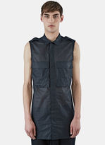 Rick Owens Men's Sleeveless Sheer Field Shirt In Black