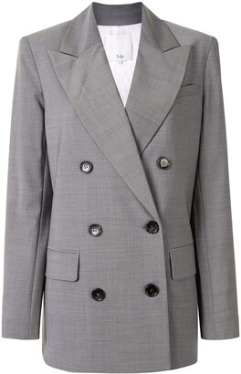 Tibi Double-Breasted Arched Blazer