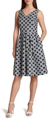 Tahari Polka Dot Stripe Fit & Flare Dress