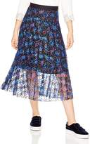 Sandro Roma Printed Lace Midi Skirt