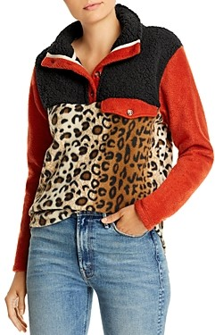 Donni Charm Color-Blocked & Patterned Fleece Pullover