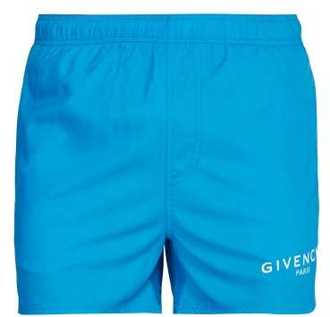 Givenchy Logo Printed Swim Shorts - Mens - Blue