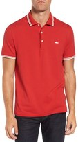 Lacoste Men's Pique Polo With Rubberized Logo