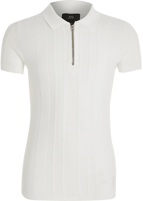 River Island Boys white half zip knitted polo shirt
