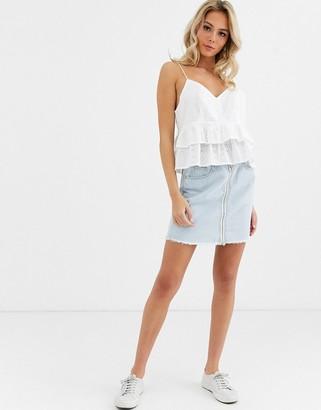 Glamorous denim mini skirt with zip front detail