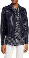 Lafayette 148 New York Destiny Plonge Lambskin Zip Front Jacket w/ Braided Trim