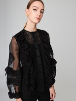 Oscar de la Renta Corded Lace and Silk-Organza Blouse