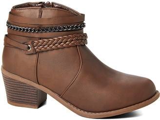 Ameta Women's Casual boots Brown - Brown Braid & Chain Ankle Bootie - Women