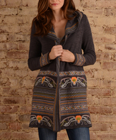 Paparazzi Gray Embroidered Hooded Cardigan