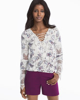 White House Black Market Long-Sleeve Lace-Up Floral Print Top