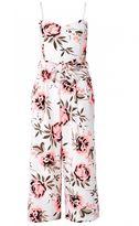 Quiz Cream And Coral Floral Print Culotte Jumpsuit