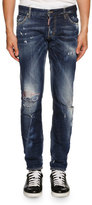 DSQUARED2 Slim-Fit Micro-Stitch Distressed Jeans, Blue
