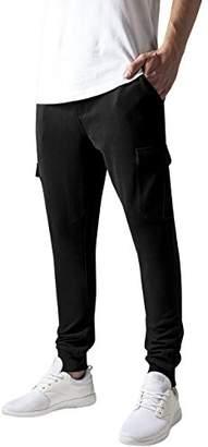 Urban Classic Men's Fitted Cargo Sweatpants Trousers, Black, W32/L32