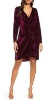 Julia Jordan Velvet Sequin Long Sleeve Faux Wrap Dress